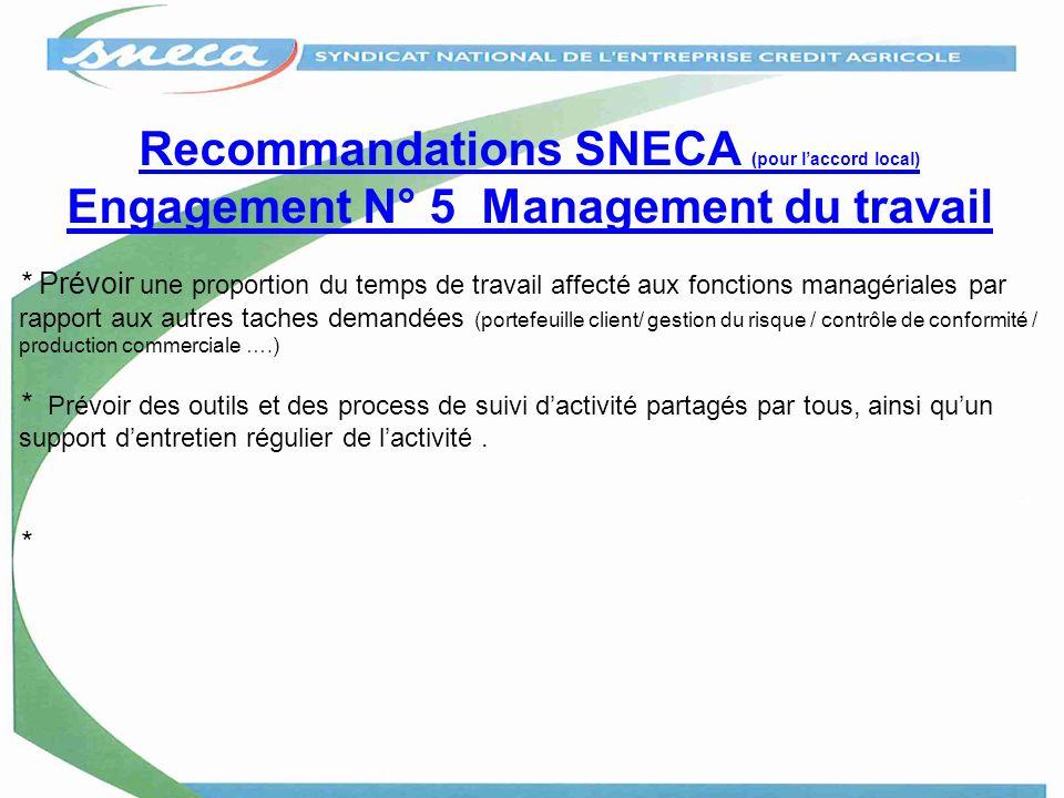 Recommandations SNECA (pour laccord local) Engagement N° 5 Management du travail * Prévoir une proportion du temps de travail affecté aux fonctions ma