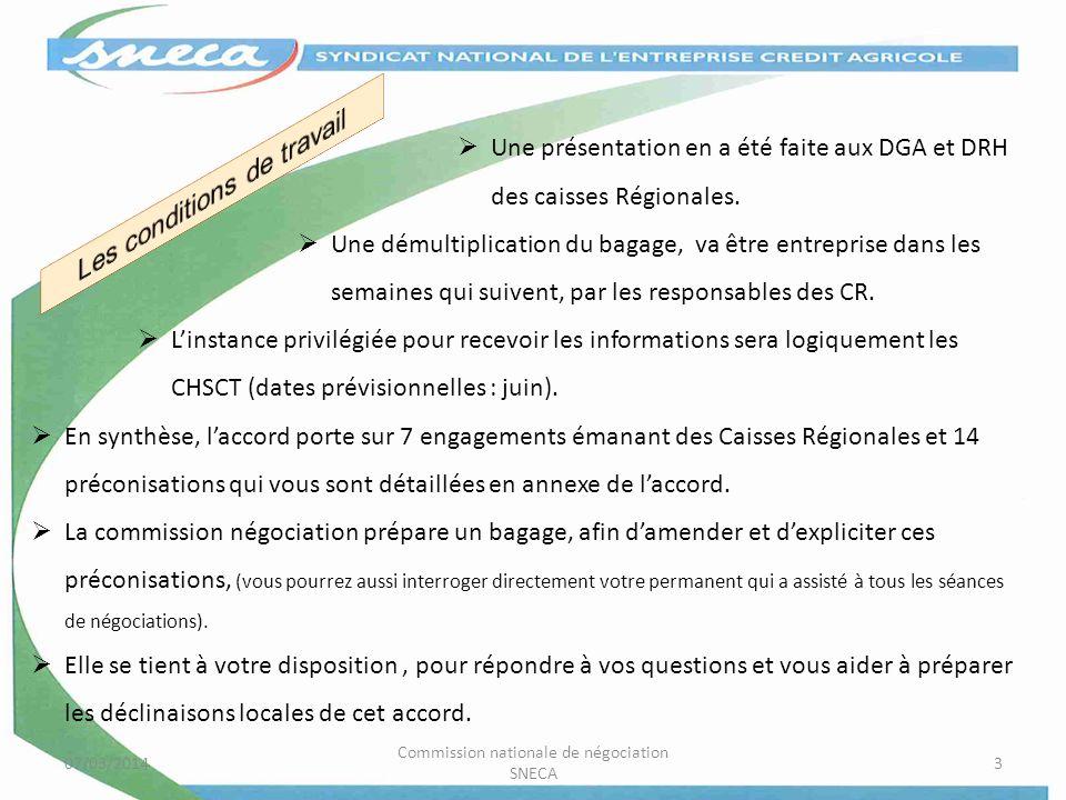 07/03/2014 Commission nationale de négociation SNECA 3 Une présentation en a été faite aux DGA et DRH des caisses Régionales. Une démultiplication du