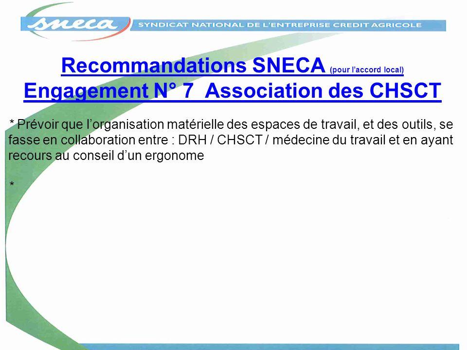 Recommandations SNECA (pour laccord local) Engagement N° 7 Association des CHSCT * Prévoir que lorganisation matérielle des espaces de travail, et des