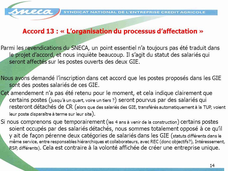14 Accord 13 : « Lorganisation du processus daffectation » Parmi les revendications du SNECA, un point essentiel na toujours pas été traduit dans le projet daccord, et nous inquiète beaucoup.