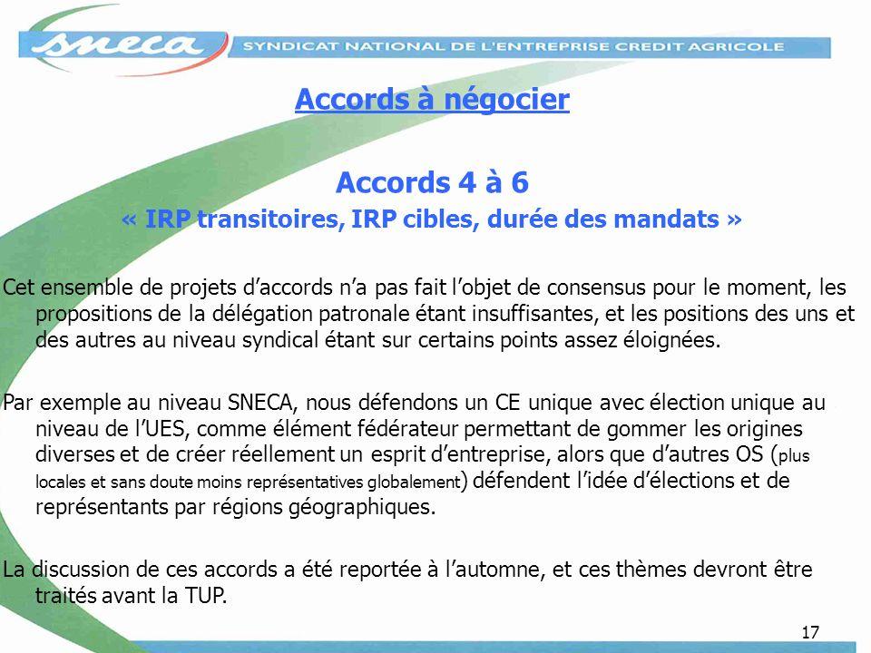 17 Accords à négocier Accords 4 à 6 « IRP transitoires, IRP cibles, durée des mandats » Cet ensemble de projets daccords na pas fait lobjet de consens