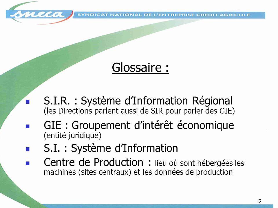 2 Glossaire : S.I.R. : Système dInformation Régional (les Directions parlent aussi de SIR pour parler des GIE) GIE : Groupement dintérêt économique (e