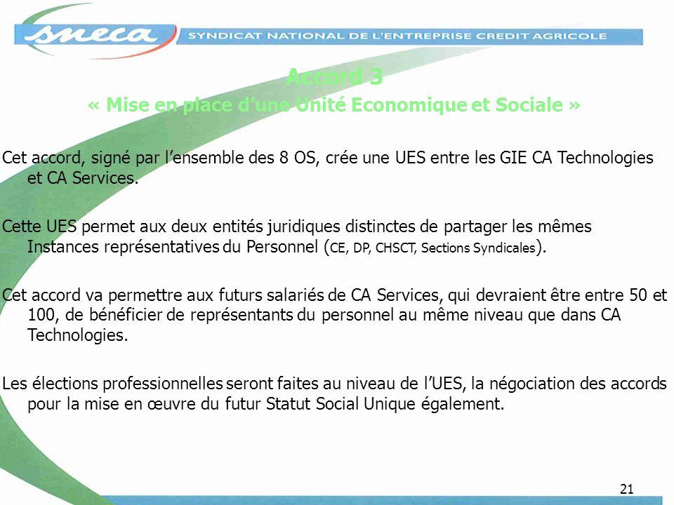 21 Accord 3 « Mise en place dune Unité Economique et Sociale » Cet accord, signé par lensemble des 8 OS, crée une UES entre les GIE CA Technologies et CA Services.