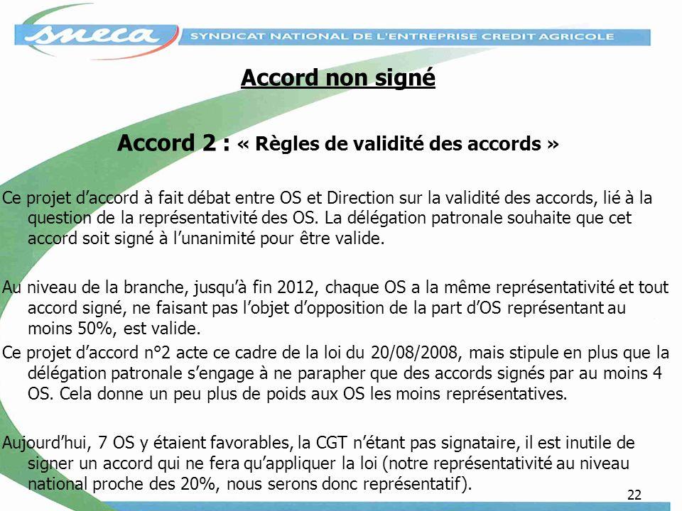 22 Accord non signé Accord 2 : « Règles de validité des accords » Ce projet daccord à fait débat entre OS et Direction sur la validité des accords, lié à la question de la représentativité des OS.