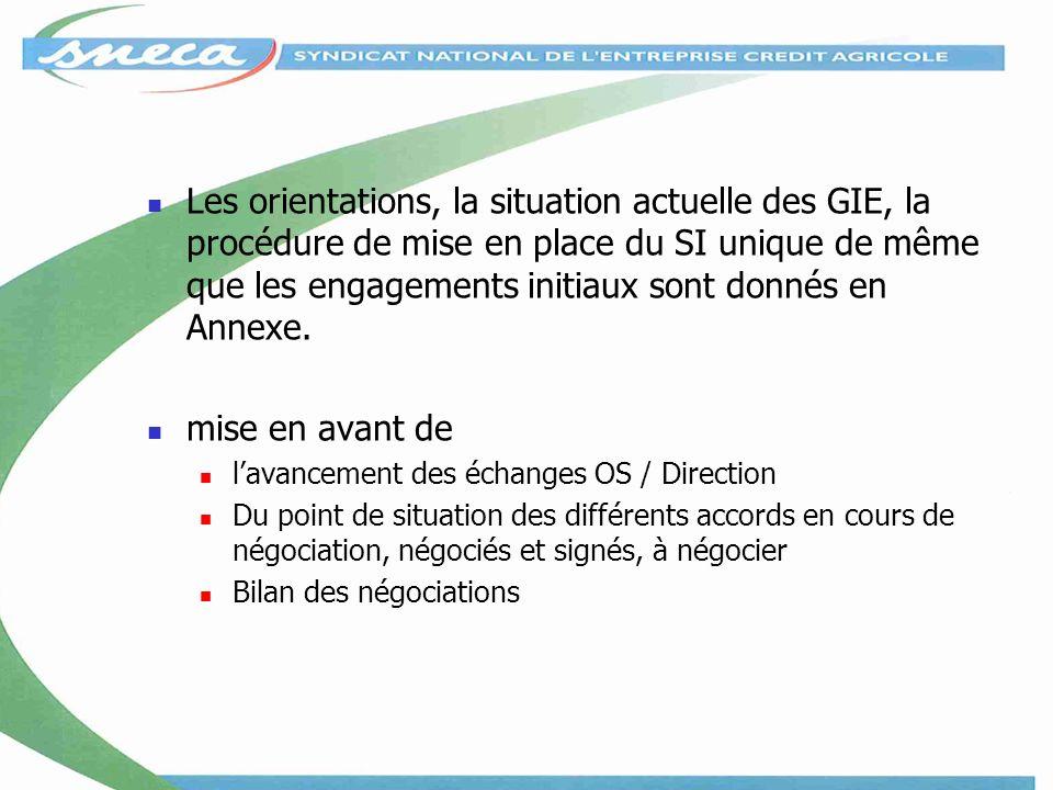 Les orientations, la situation actuelle des GIE, la procédure de mise en place du SI unique de même que les engagements initiaux sont donnés en Annexe.