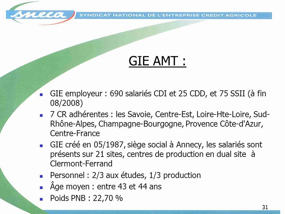31 GIE AMT : GIE employeur : 690 salariés CDI et 25 CDD, et 75 SSII (à fin 08/2008) 7 CR adhérentes : les Savoie, Centre-Est, Loire-Hte-Loire, Sud- Rhône-Alpes, Champagne-Bourgogne, Provence Côte-d Azur, Centre-France GIE créé en 05/1987, siège social à Annecy, les salariés sont présents sur 21 sites, centres de production en dual site à Clermont-Ferrand Personnel : 2/3 aux études, 1/3 production Âge moyen : entre 43 et 44 ans Poids PNB : 22,70 %