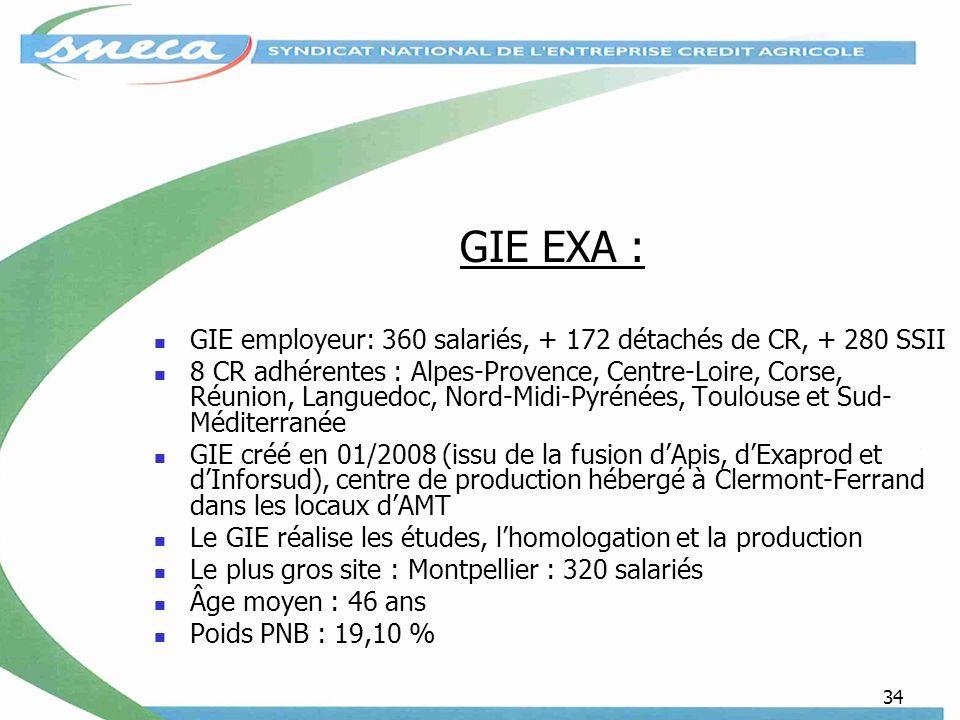 34 GIE EXA : GIE employeur: 360 salariés, + 172 détachés de CR, + 280 SSII 8 CR adhérentes : Alpes-Provence, Centre-Loire, Corse, Réunion, Languedoc, Nord-Midi-Pyrénées, Toulouse et Sud- Méditerranée GIE créé en 01/2008 (issu de la fusion dApis, dExaprod et dInforsud), centre de production hébergé à Clermont-Ferrand dans les locaux dAMT Le GIE réalise les études, lhomologation et la production Le plus gros site : Montpellier : 320 salariés Âge moyen : 46 ans Poids PNB : 19,10 %