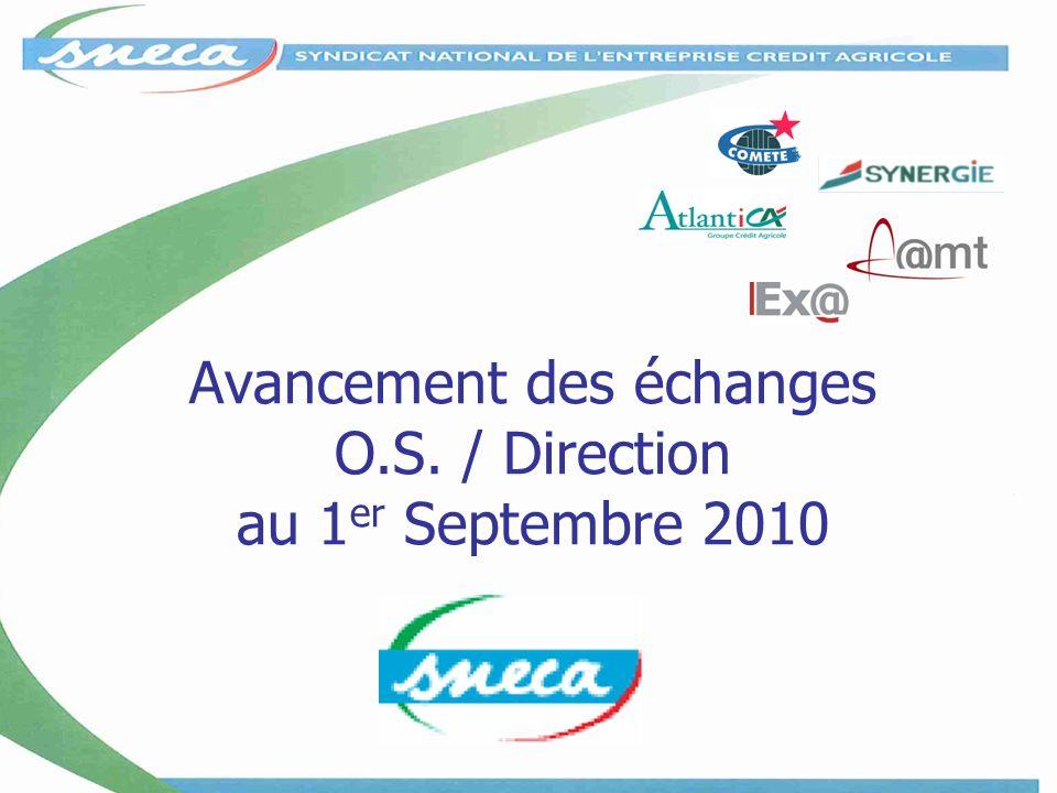 Avancement des échanges O.S. / Direction au 1 er Septembre 2010