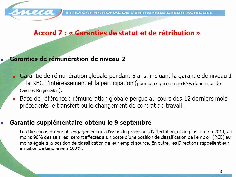 8 Accord 7 : « Garanties de statut et de rétribution » Garanties de rémunération de niveau 2 Garantie de rémunération globale pendant 5 ans, incluant
