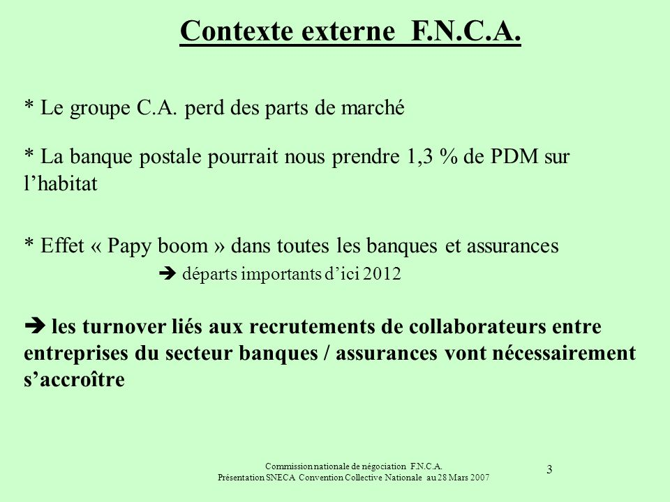 Commission nationale de négociation F.N.C.A. Présentation SNECA Convention Collective Nationale au 28 Mars 2007 3 * Le groupe C.A. perd des parts de m