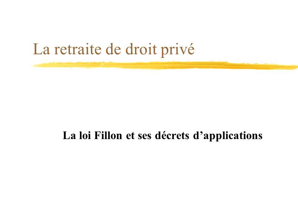 La retraite de droit privé La loi Fillon et ses décrets dapplications