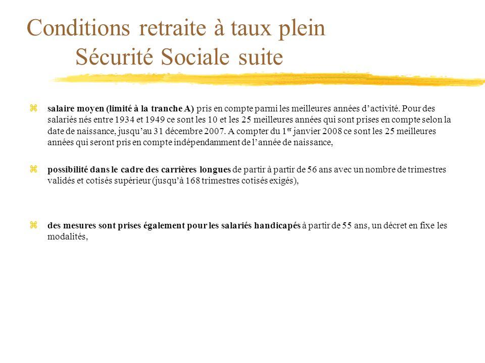 Conditions retraite à taux plein Sécurité Sociale suite zsalaire moyen (limité à la tranche A) pris en compte parmi les meilleures années dactivité. P