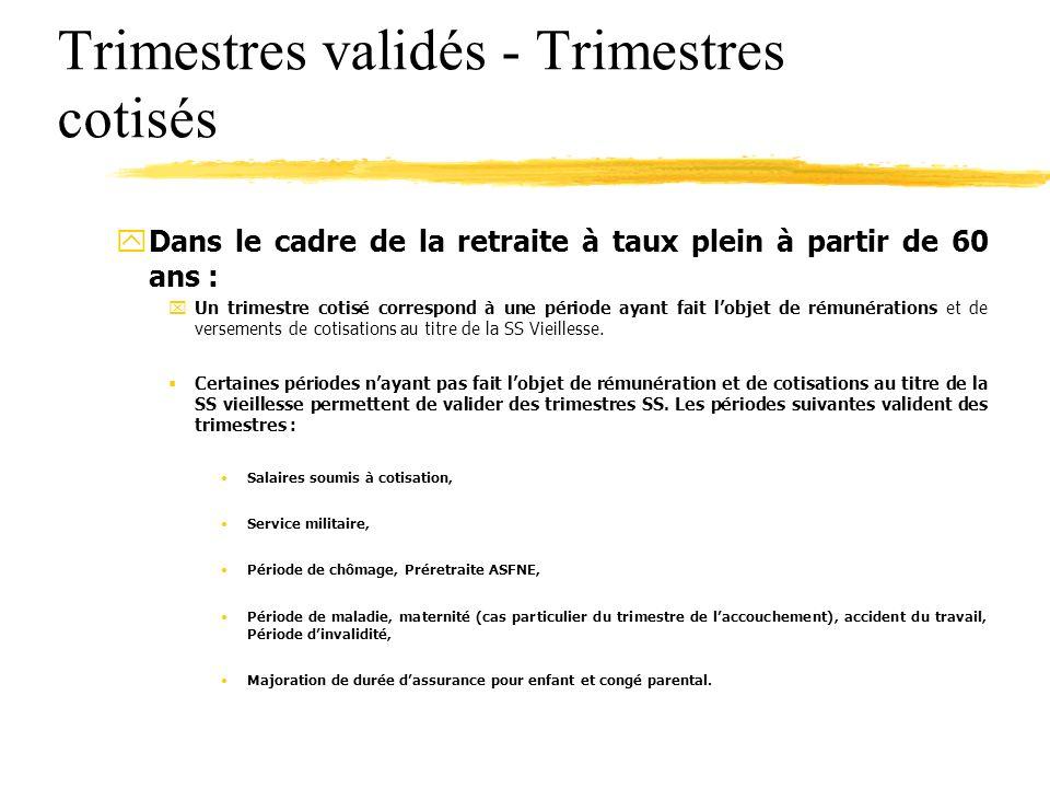 Trimestres validés - Trimestres cotisés yDans le cadre de la retraite à taux plein à partir de 60 ans : xUn trimestre cotisé correspond à une période