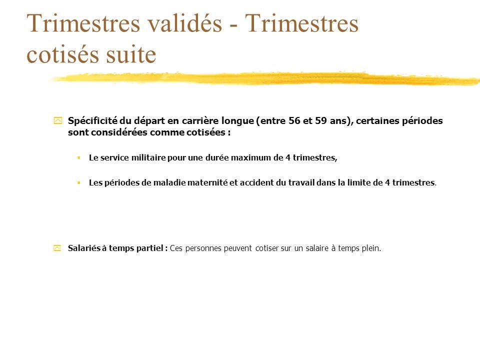 Trimestres validés - Trimestres cotisés suite ySpécificité du départ en carrière longue (entre 56 et 59 ans), certaines périodes sont considérées comm
