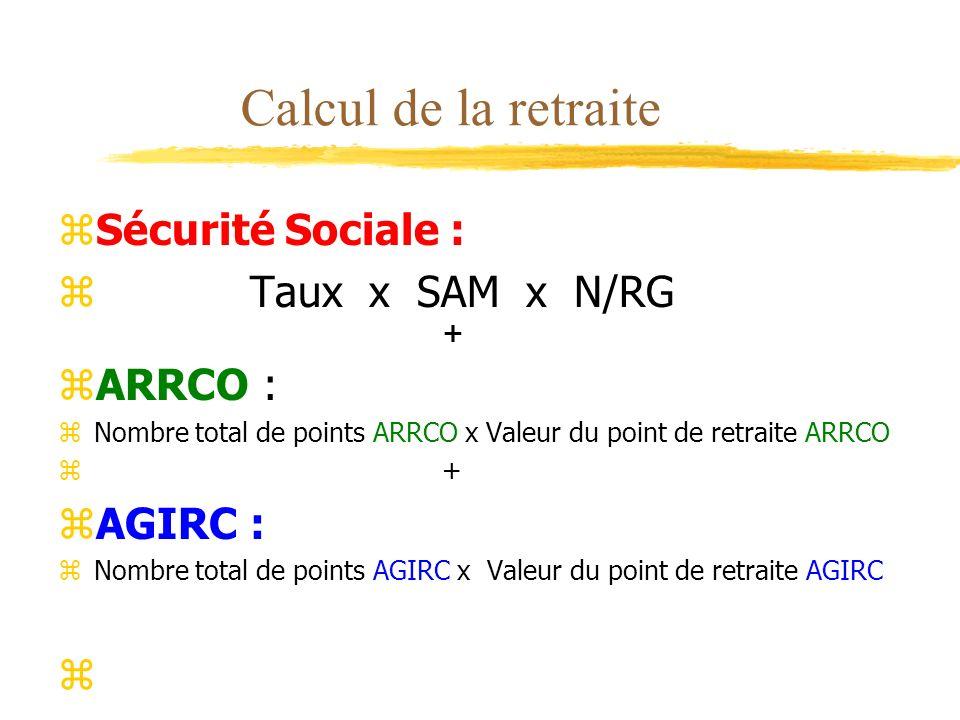 Calcul de la retraite zSécurité Sociale : zTaux x SAM x N/RG + zARRCO : zNombre total de points ARRCO x Valeur du point de retraite ARRCO z+ zAGIRC :