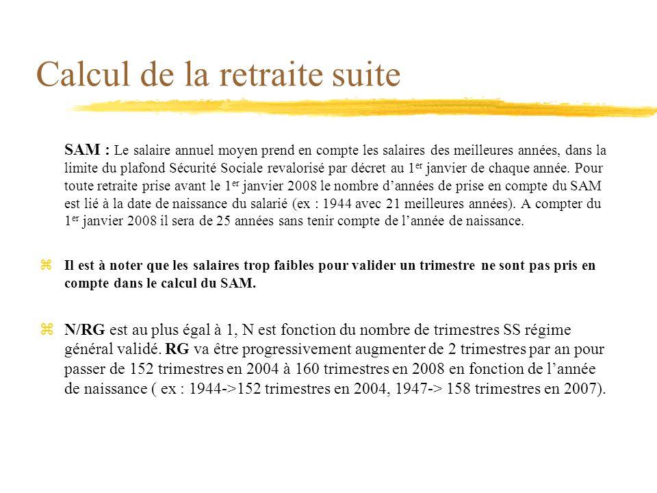 Calcul de la retraite suite SAM : Le salaire annuel moyen prend en compte les salaires des meilleures années, dans la limite du plafond Sécurité Socia