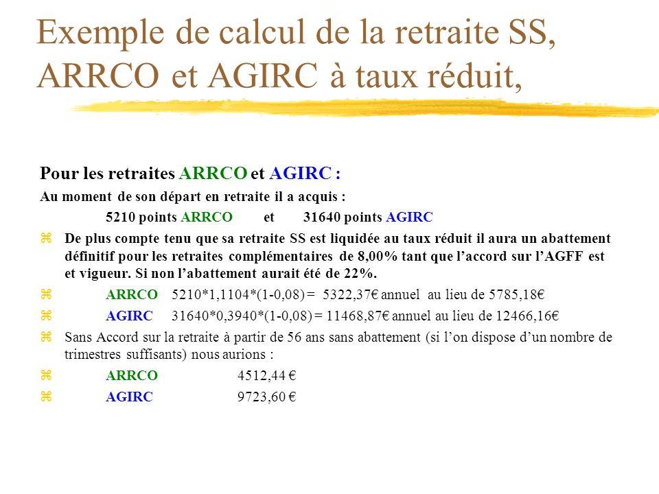 Exemple de calcul de la retraite SS, ARRCO et AGIRC à taux réduit, Pour les retraites ARRCO et AGIRC : Au moment de son départ en retraite il a acquis