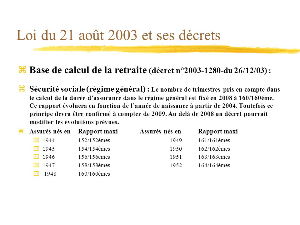 Loi du 21 août 2003 et ses décrets zBase de calcul de la retraite (décret n°2003-1280-du 26/12/03) : Sécurité sociale (régime général) : Le nombre de