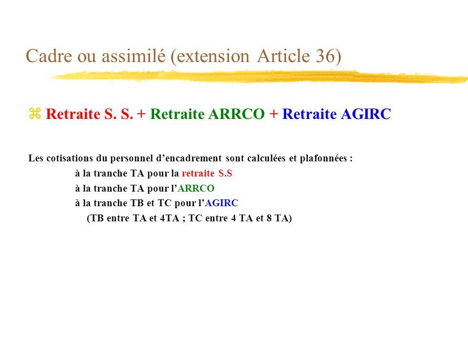 Cadre ou assimilé (extension Article 36) zRetraite S. S. + Retraite ARRCO + Retraite AGIRC Les cotisations du personnel dencadrement sont calculées et
