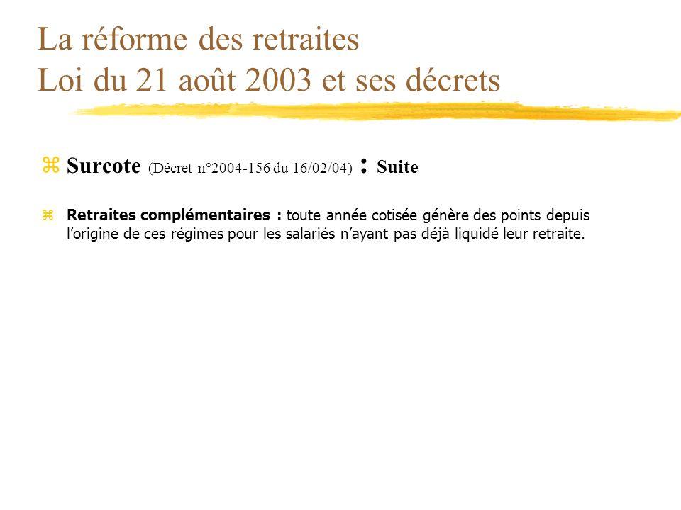 La réforme des retraites Loi du 21 août 2003 et ses décrets zSurcote (Décret n°2004-156 du 16/02/04) : Suite zRetraites complémentaires : toute année