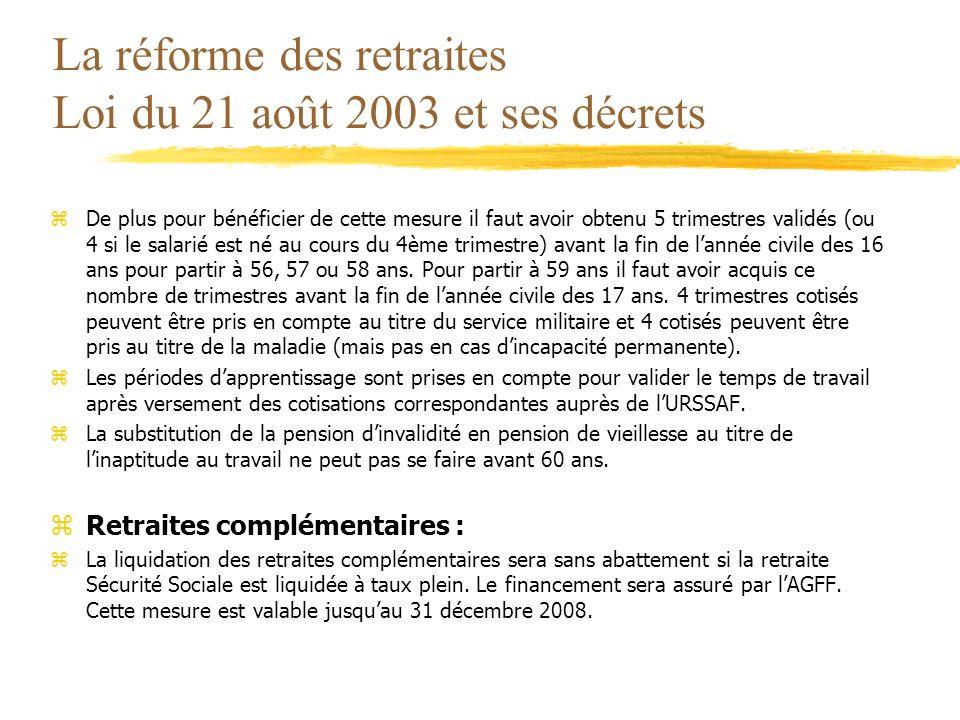La réforme des retraites Loi du 21 août 2003 et ses décrets zDe plus pour bénéficier de cette mesure il faut avoir obtenu 5 trimestres validés (ou 4 s