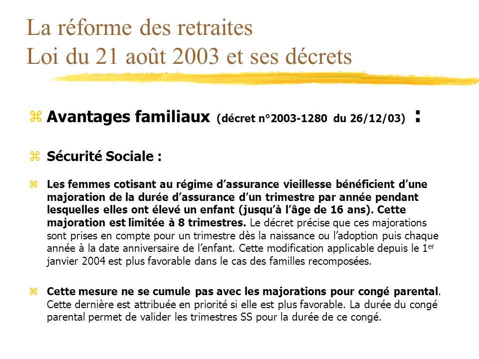 La réforme des retraites Loi du 21 août 2003 et ses décrets zAvantages familiaux (décret n°2003-1280 du 26/12/03) : zSécurité Sociale : zLes femmes co