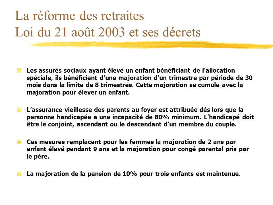 La réforme des retraites Loi du 21 août 2003 et ses décrets zLes assurés sociaux ayant élevé un enfant bénéficiant de lallocation spéciale, ils bénéfi
