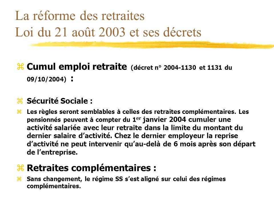 La réforme des retraites Loi du 21 août 2003 et ses décrets zCumul emploi retraite (décret n° 2004-1130 et 1131 du 09/10/2004) : zSécurité Sociale : z