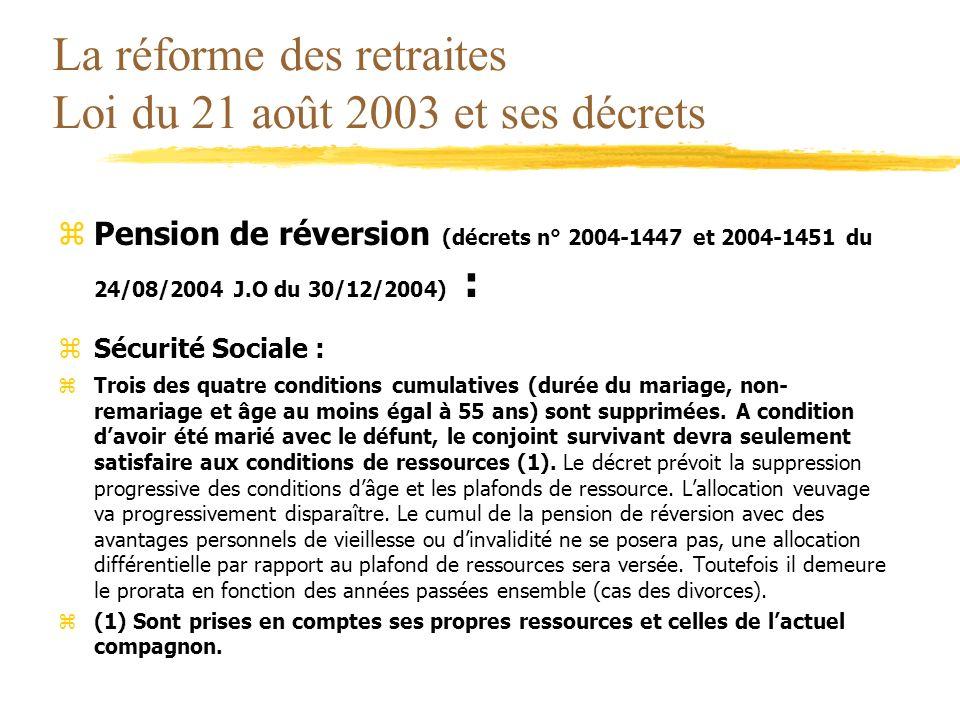 La réforme des retraites Loi du 21 août 2003 et ses décrets zPension de réversion (décrets n° 2004-1447 et 2004-1451 du 24/08/2004 J.O du 30/12/2004)