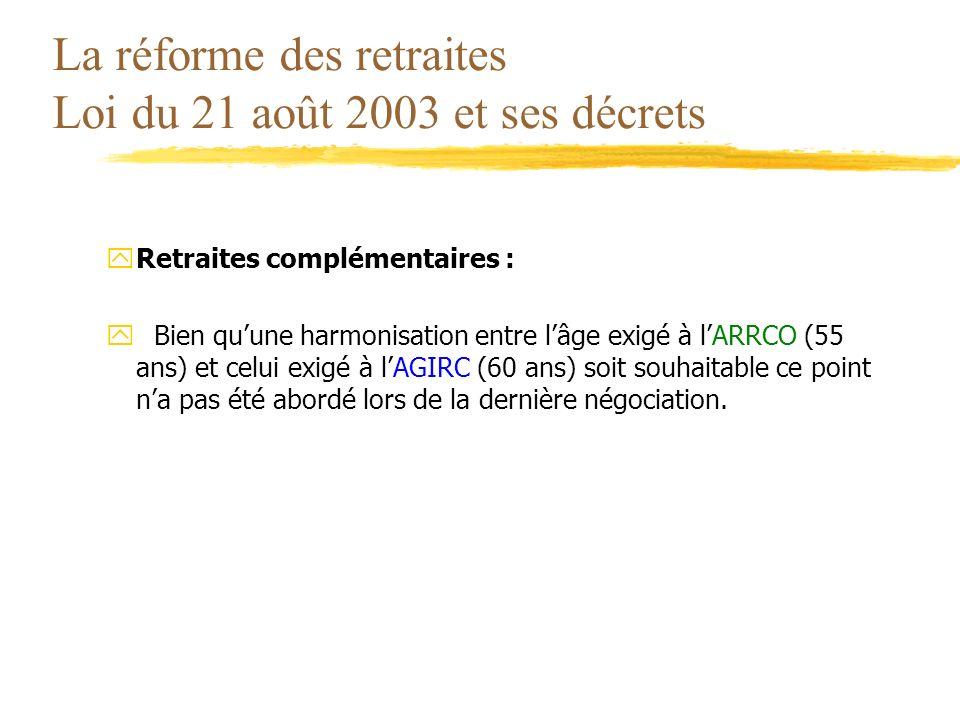 La réforme des retraites Loi du 21 août 2003 et ses décrets yRetraites complémentaires : yBien quune harmonisation entre lâge exigé à lARRCO (55 ans)
