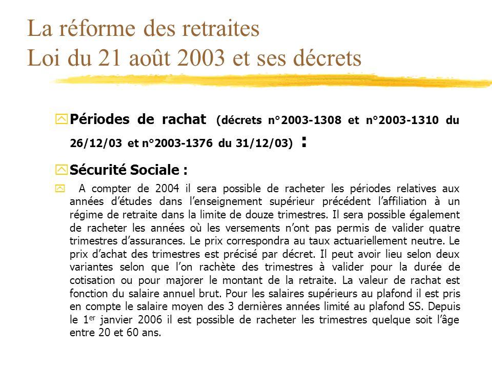La réforme des retraites Loi du 21 août 2003 et ses décrets yPériodes de rachat (décrets n°2003-1308 et n°2003-1310 du 26/12/03 et n°2003-1376 du 31/1