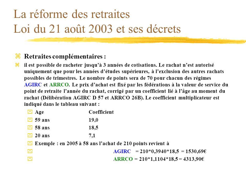 La réforme des retraites Loi du 21 août 2003 et ses décrets zRetraites complémentaires : zil est possible de racheter jusquà 3 années de cotisations.