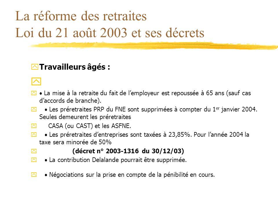 La réforme des retraites Loi du 21 août 2003 et ses décrets yTravailleurs âgés : y y La mise à la retraite du fait de lemployeur est repoussée à 65 an