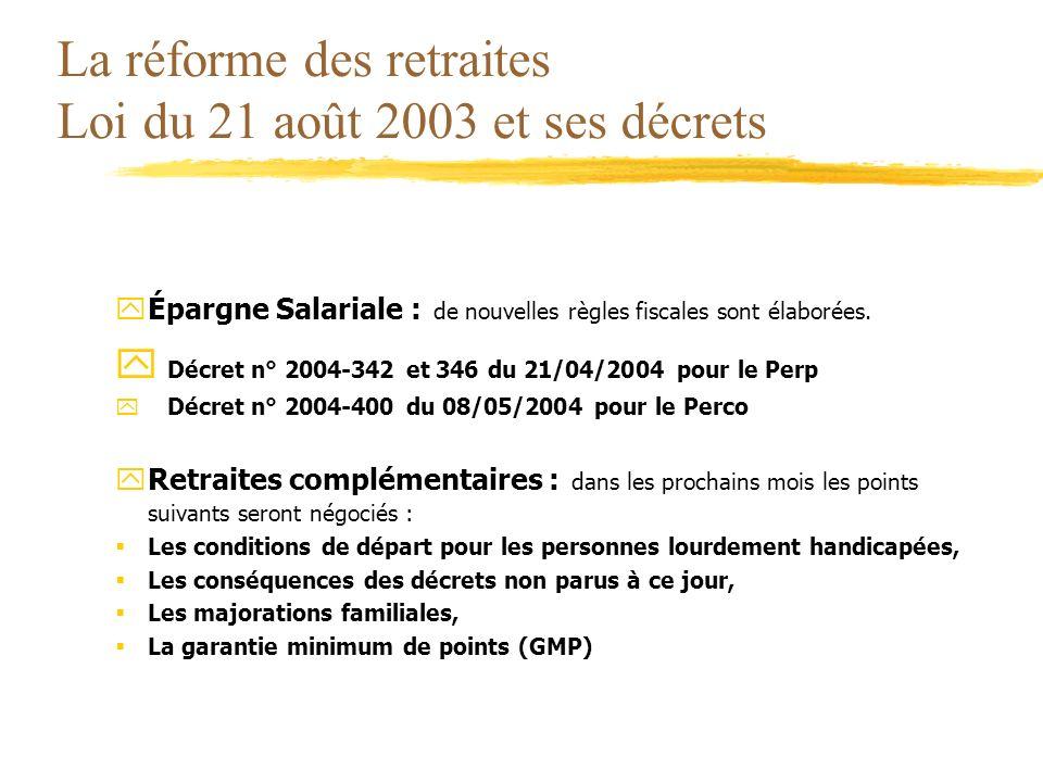 La réforme des retraites Loi du 21 août 2003 et ses décrets yÉpargne Salariale : de nouvelles règles fiscales sont élaborées. y Décret n° 2004-342 et