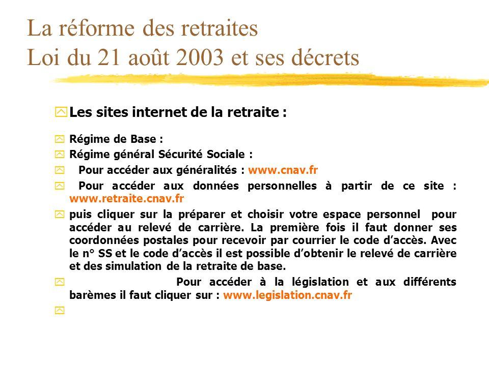 La réforme des retraites Loi du 21 août 2003 et ses décrets yLes sites internet de la retraite : yRégime de Base : yRégime général Sécurité Sociale :