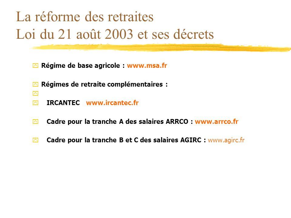 La réforme des retraites Loi du 21 août 2003 et ses décrets yRégime de base agricole : www.msa.fr yRégimes de retraite complémentaires : y yIRCANTEC w