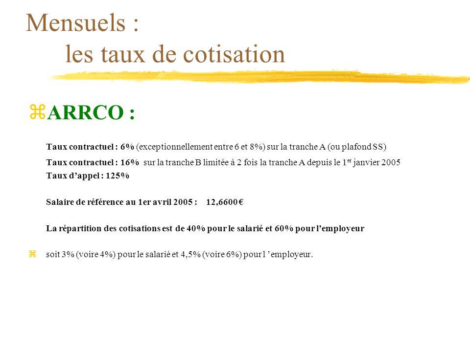 Mensuels : les taux de cotisation zARRCO : Taux contractuel : 6% (exceptionnellement entre 6 et 8%) sur la tranche A (ou plafond SS) Taux contractuel