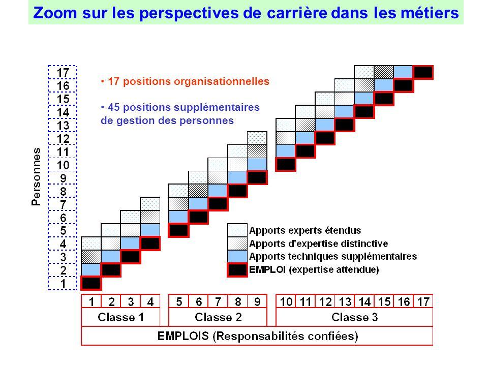 Zoom sur les perspectives de carrière dans les métiers 17 positions organisationnelles 45 positions supplémentaires de gestion des personnes
