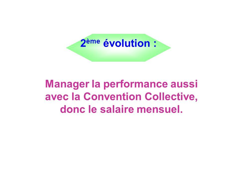 Manager la performance aussi avec la Convention Collective, donc le salaire mensuel. 2 ème évolution :