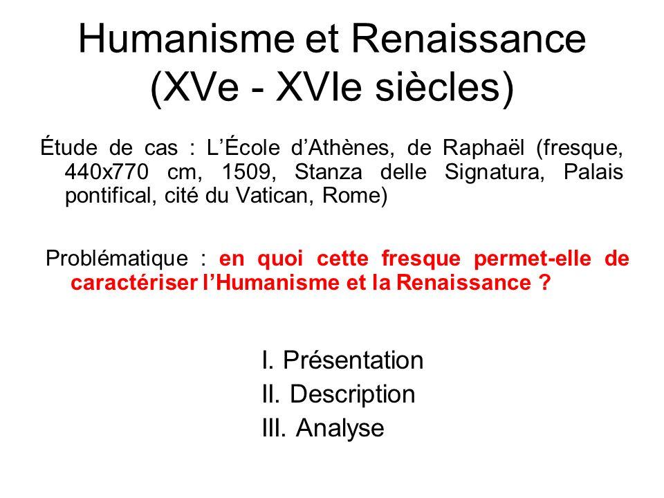 Humanisme et Renaissance (XVe - XVIe siècles) Étude de cas : LÉcole dAthènes, de Raphaël (fresque, 440x770 cm, 1509, Stanza delle Signatura, Palais po