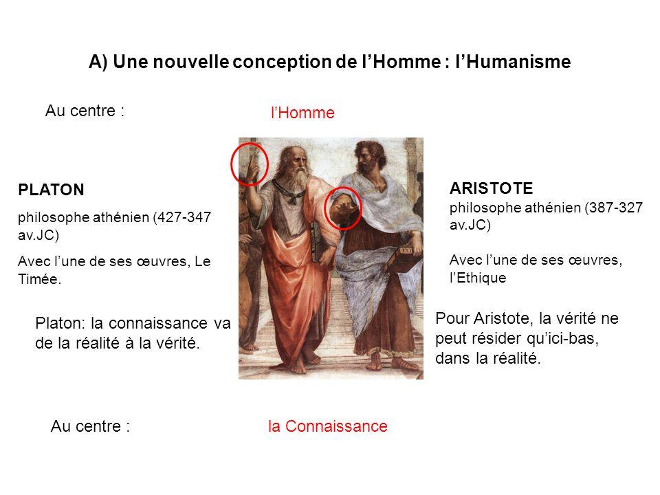 A) Une nouvelle conception de lHomme : lHumanisme Au centre : PLATON philosophe athénien (427-347 av.JC) Avec lune de ses œuvres, Le Timée. ARISTOTE p