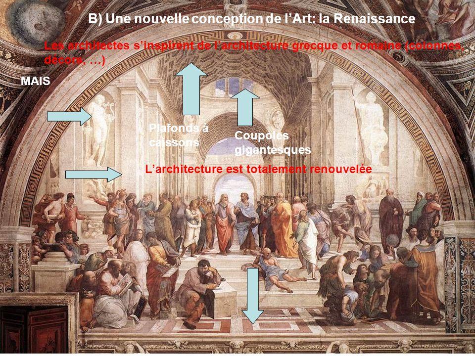 B) Une nouvelle conception de lArt: la Renaissance Les architectes sinspirent de larchitecture grecque et romaine (colonnes, décors, …) MAIS Larchitec