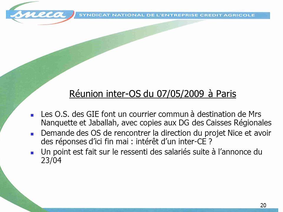 20 Réunion inter-OS du 07/05/2009 à Paris Les O.S.