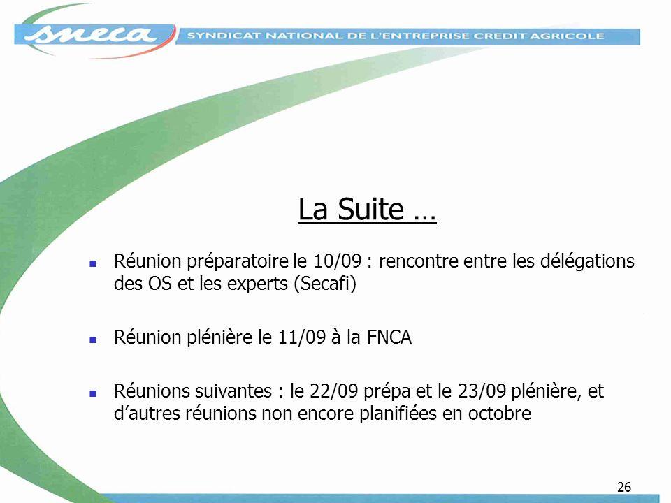 26 La Suite … Réunion préparatoire le 10/09 : rencontre entre les délégations des OS et les experts (Secafi) Réunion plénière le 11/09 à la FNCA Réunions suivantes : le 22/09 prépa et le 23/09 plénière, et dautres réunions non encore planifiées en octobre
