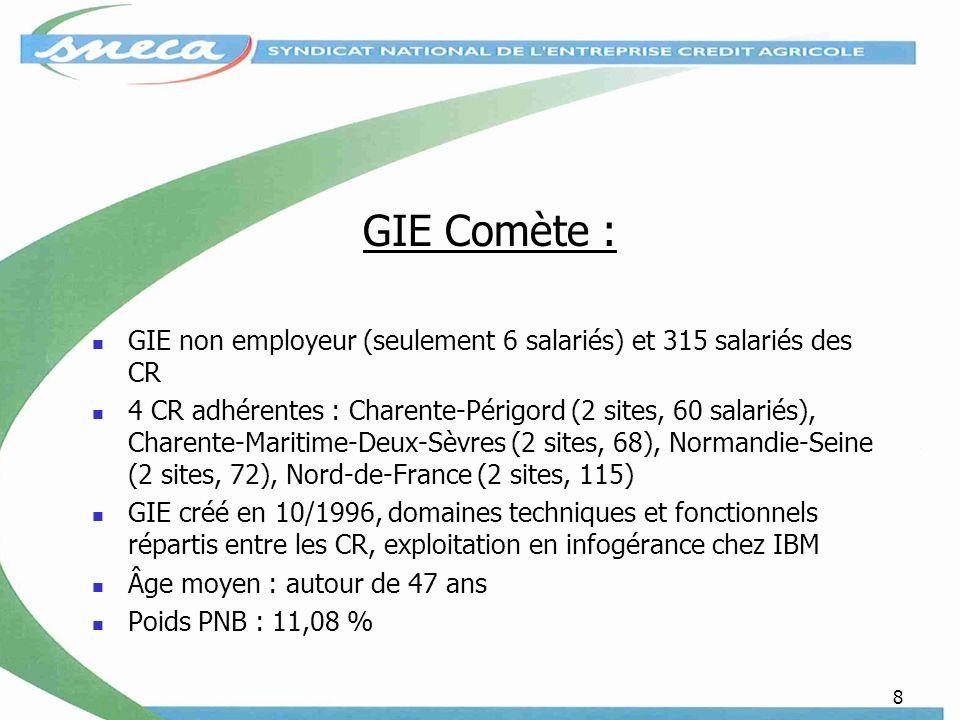 8 GIE Comète : GIE non employeur (seulement 6 salariés) et 315 salariés des CR 4 CR adhérentes : Charente-Périgord (2 sites, 60 salariés), Charente-Maritime-Deux-Sèvres (2 sites, 68), Normandie-Seine (2 sites, 72), Nord-de-France (2 sites, 115) GIE créé en 10/1996, domaines techniques et fonctionnels répartis entre les CR, exploitation en infogérance chez IBM Âge moyen : autour de 47 ans Poids PNB : 11,08 %