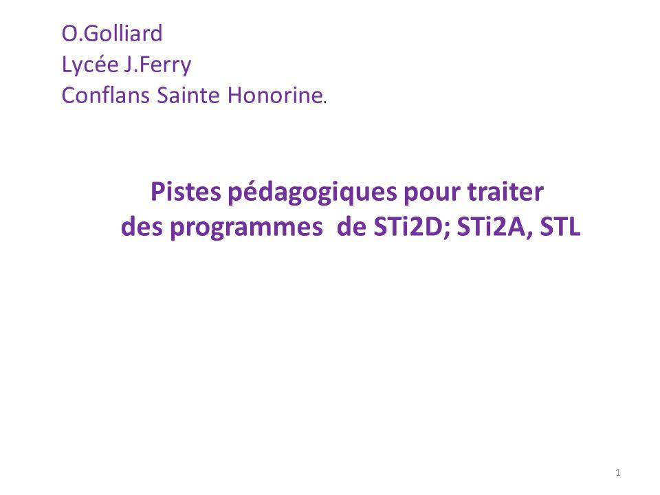 O.Golliard Lycée J.Ferry Conflans Sainte Honorine. 1 Pistes pédagogiques pour traiter des programmes de STi2D; STi2A, STL