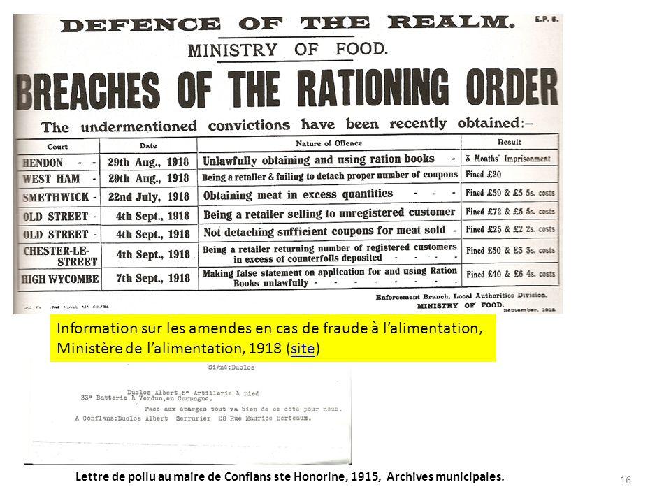 16 Information sur les amendes en cas de fraude à lalimentation, Ministère de lalimentation, 1918 (site)site Lettre de poilu au maire de Conflans ste