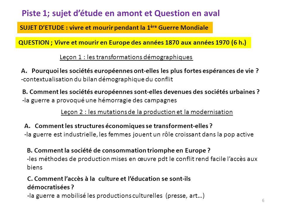 Piste 1; sujet détude en amont et Question en aval A.Pourquoi les sociétés européennes ont-elles les plus fortes espérances de vie ? -contextualisatio