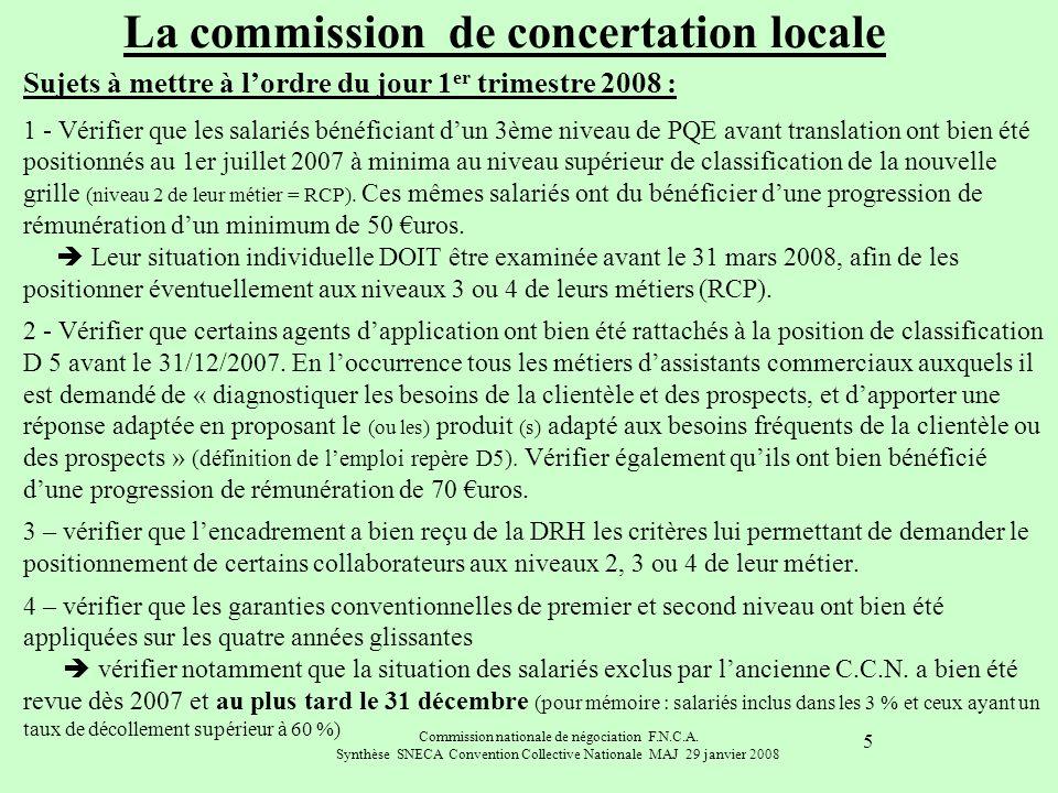 Commission nationale de négociation F.N.C.A. Synthèse SNECA Convention Collective Nationale MAJ 29 janvier 2008 5 Sujets à mettre à lordre du jour 1 e