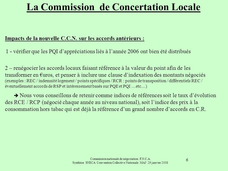 Commission nationale de négociation F.N.C.A. Synthèse SNECA Convention Collective Nationale MAJ 29 janvier 2008 6 Impacts de la nouvelle C.C.N. sur le